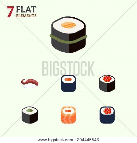 Flat Icon Sushi Set Of Maki, Eating, Salmon Rolls And Other Vector Objects