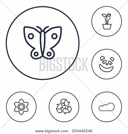 Collection Of Cloud, Panda, Flower Elements.  Set Of 6 Nature Outline Icons Set.