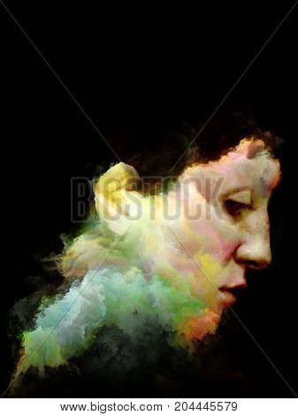 Color Thinking series. Female portrait executed with fractal paint on subject of creativity imagination spirituality and art