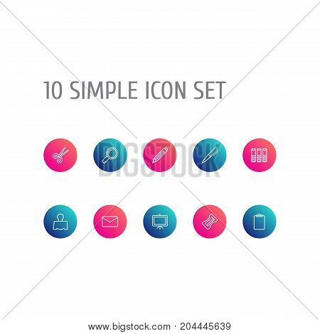 Collection Of Drawing, Sharpener, Pen And Other Elements.  Set Of 10 Stationery Outline Icons Set.