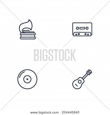 Collection Of Gramophone, Record, Vinyl And Other Elements.  Set Of 4 Melody Outline Icons Set.