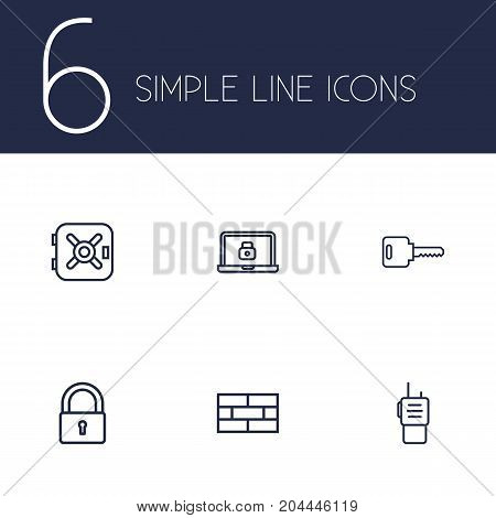 Collection Of Walkie-Talkie, Firewall, Lock And Other Elements.  Set Of 6 Security Outline Icons Set.