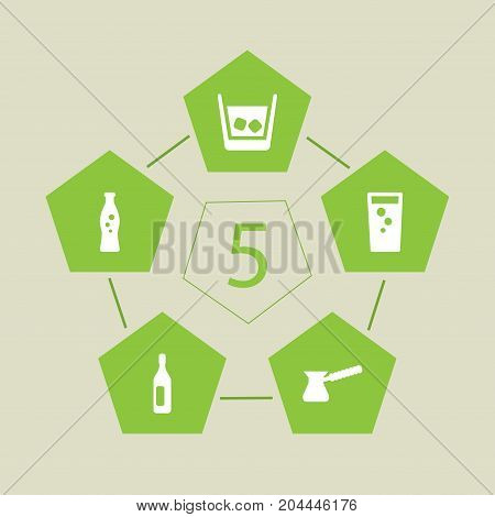Collection Of Turkish Coffee, Fizzy Water, Soda And Other Elements.  Set Of 5 Drinks Icons Set.