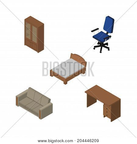 Isometric Furnishing Set Of Cabinet, Bedstead, Couch And Other Vector Objects