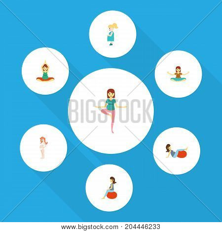 Flat Icon Pregnant Set Of Yoga, Pregnant Woman, Pregnancy And Other Vector Objects
