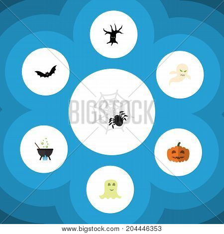 Flat Icon Festival Set Of Spinner, Magic, Ghost And Other Vector Objects