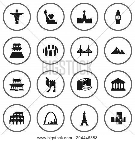 Collection Of Prehistoric Britain, Japan, China And Other Elements.  Set Of 16 Monument Icons Set.