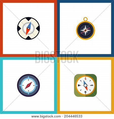 Flat Icon Compass Set Of Magnet Navigator, Orientation, Instrument And Other Vector Objects