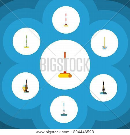 Flat Icon Mop Set Of Cleaning, Mop, Broom And Other Vector Objects