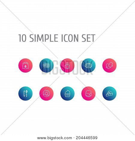 Collection Of Toast, Pudding, Pizza And Other Elements.  Set Of 10 Pastry Outline Icons Set.