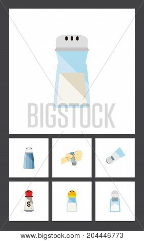Flat Icon Sodium Set Of Saltshaker, Spicy, Spice And Other Vector Objects