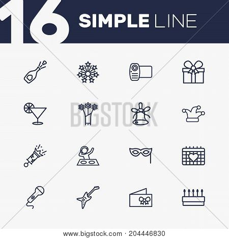 Collection Of Mask, Microphone, Card And Other Elements.  Set Of 16 Party Outline Icons Set.