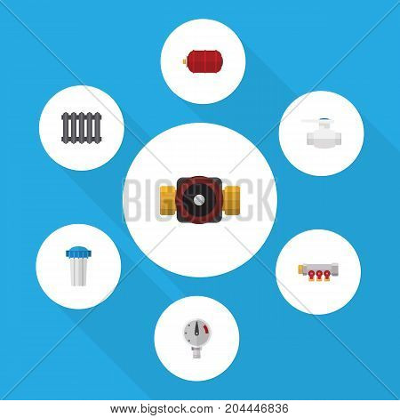 Flat Icon Industry Set Of Pressure, Heater, Tap And Other Vector Objects