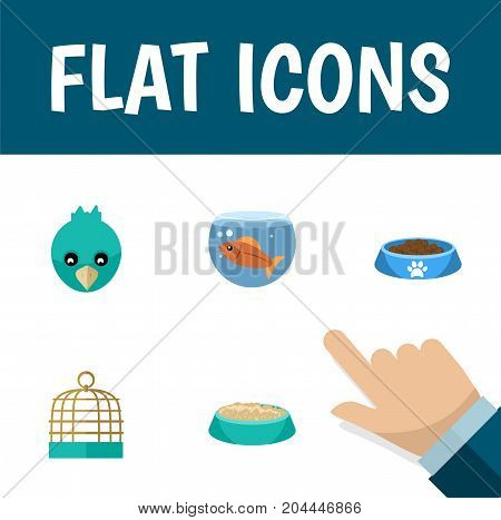 Flat Icon Pets Set Of Feeding, Sparrow, Cat  Eating And Other Vector Objects