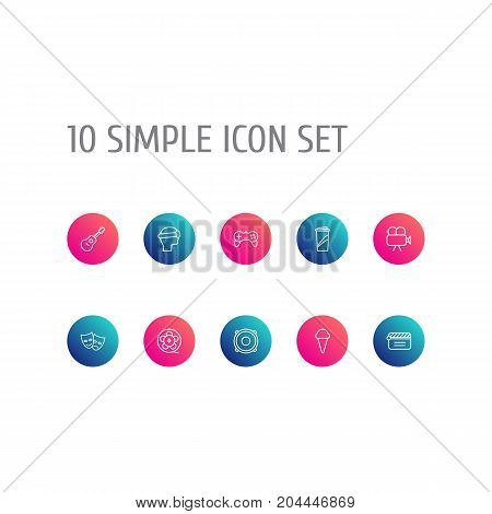 Collection Of Movie Cam, Clapperboard, Ice Cream And Other Elements.  Set Of 10 Pleasure Outline Icons Set.
