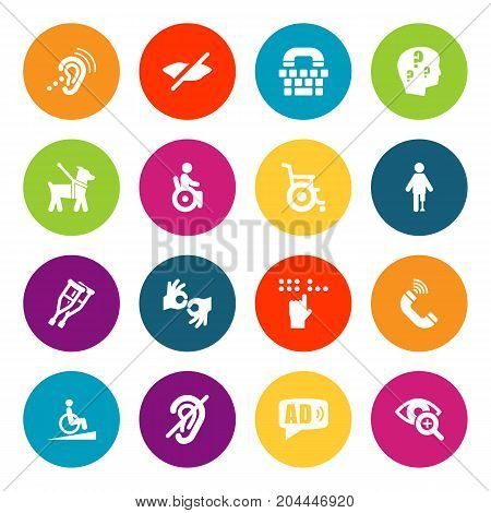 Collection Of Universal Access, Ramp, Phone And Other Elements.  Set Of 16 Accessibility Icons Set.