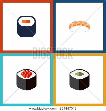 Flat Icon Sashimi Set Of Maki, Salmon Rolls, Japanese Food And Other Vector Objects