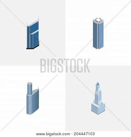 Isometric Construction Set Of Building, Residential, Skyscraper And Other Vector Objects