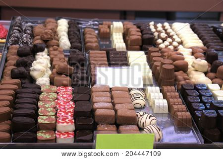 Luxurious Chocolates on display in a confectioner's shop