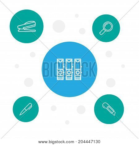 Collection Of Cutter, Zoom Glasses, Pen And Other Elements.  Set Of 5 Stationery Outline Icons Set.