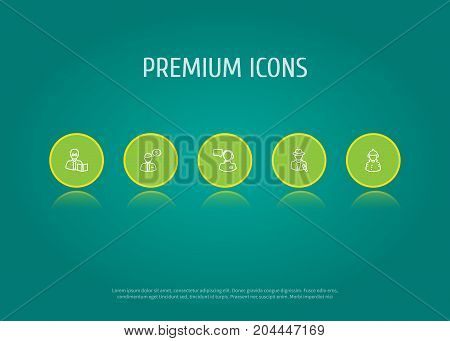 Collection Of Teacher, Firefighter, Operator And Other Elements.  Set Of 5 Professions Outline Icons Set.