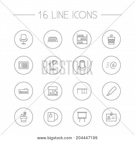 Collection Of Telephone, Chair, Pencil And Other Elements.  Set Of 16 Office Outline Icons Set.