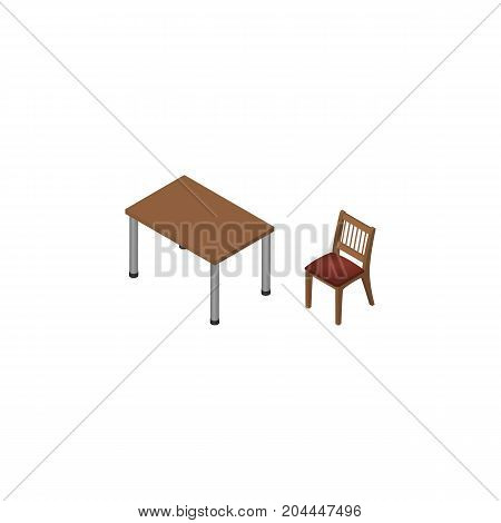 Chair Vector Element Can Be Used For Table, Chair, Furniture Design Concept.  Isolated Table Isometric.