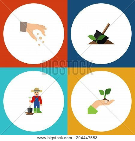 Flat Icon Plant Set Of Soil, Man, Sow And Other Vector Objects
