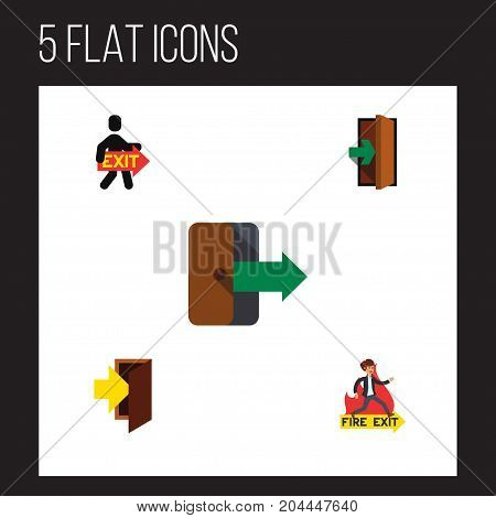 Flat Icon Emergency Set Of Entrance, Directional, Emergency And Other Vector Objects