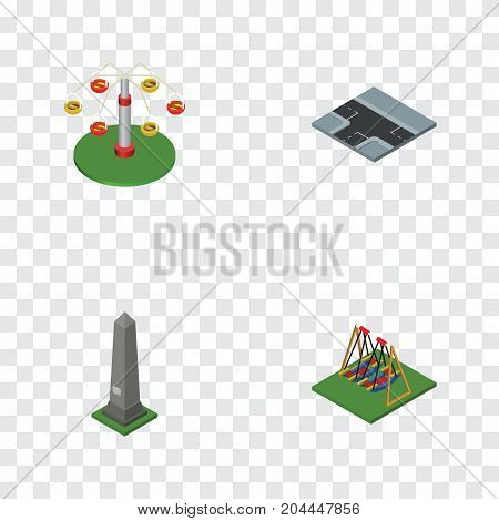 Isometric City Set Of Swing Attraction, Crossroad, Dc Memorial And Other Vector Objects