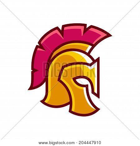 Golden gladiator helmet logo. Ancient Greek or Roman classic helmet in stylized cartoon style vector illustration.
