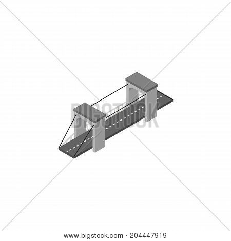 Highway Vector Element Can Be Used For Bridge, Suspension, Highway Design Concept.  Isolated Bridge Isometric.
