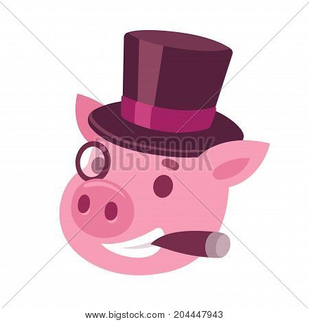 Funny cartoon capitalist pig caricature. Rich piggy boss with cigar monocle and top hat. Cute vector illustration.