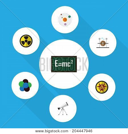 Flat Icon Study Set Of Electrical Engine, Theory Of Relativity, Milky Way And Other Vector Objects
