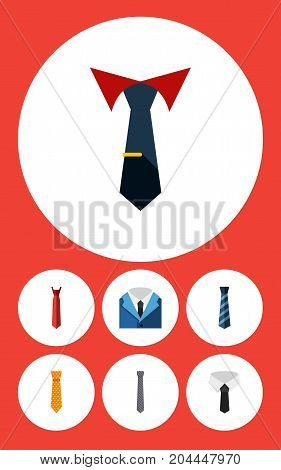 Flat Icon Clothing Set Of Style, Textile, Collar And Other Vector Objects