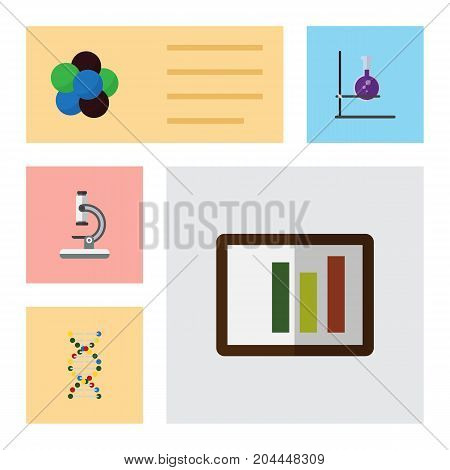 Flat Icon Science Set Of Genome, Flask, Proton And Other Vector Objects