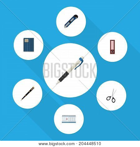 Flat Icon Equipment Set Of Dossier, Copybook, Date Block And Other Vector Objects