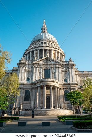 A View Of Southern Entrance To St Paul's Cathedral In London