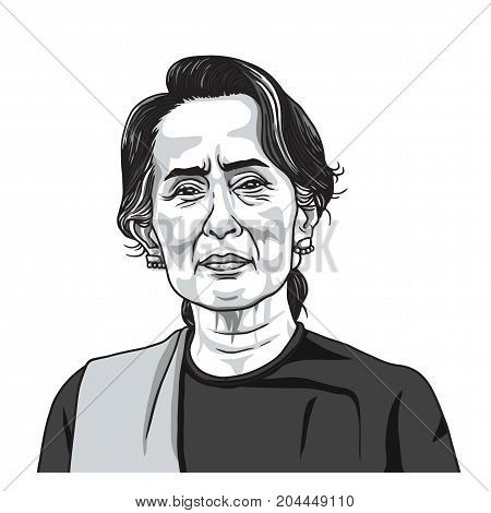 Aung San Suu Kyi Portrait Illustration Vector. September 17, 2017