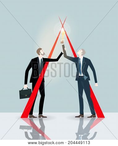 Two businessmen holding up the golden trophy. Winning, leading and success theme illustration. Business concept collection.