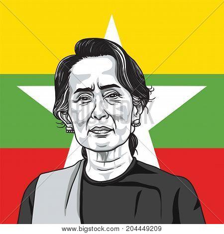 Aung San Suu Kyi on Myanmar Flag Background. Portrait Illustration Vector. September 17, 2017
