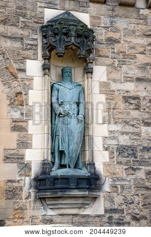 William Wallace statue on the wall inside of Edinburgh Castle Scotland