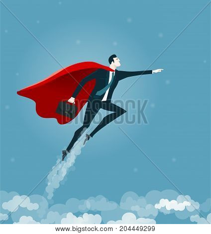 Super Businessman. Winning, transformation and risk concept business illustration