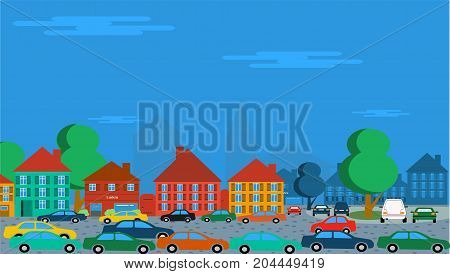 many cars parking and driving in an old historic city