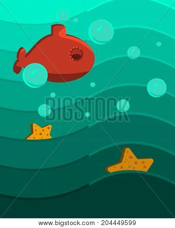 Underwater scene hand drawing  see star and u boat