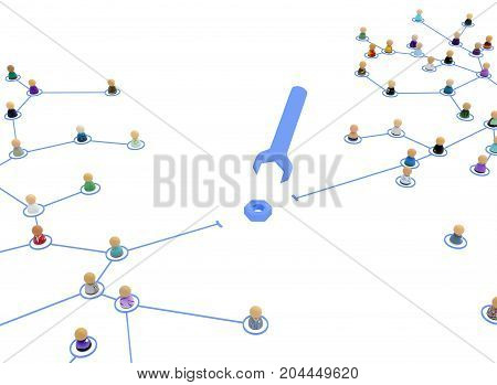 Crowd of small symbolic 3d figures linked by lines network repair over white isolated
