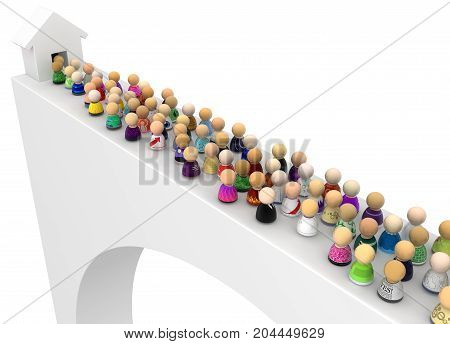 Crowd of small symbolic figures bridge path exit 3d illustration horizontal isolated over white