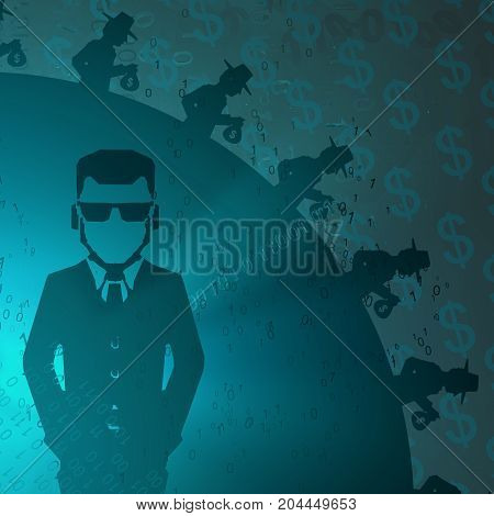 Virtual digits abstract 3d illustration shadow figures with cash horizontal