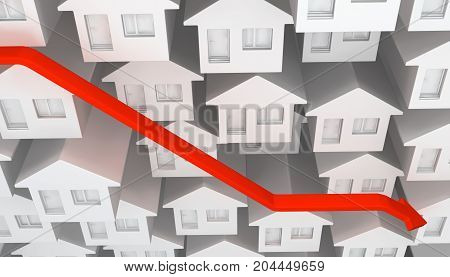 Small white house front abstract red arrow decline 3d illustration horizontal