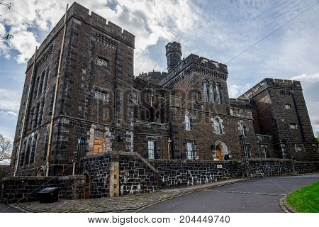 Front view of scenic Stirling Old Town Jail building medieval style central Scotland